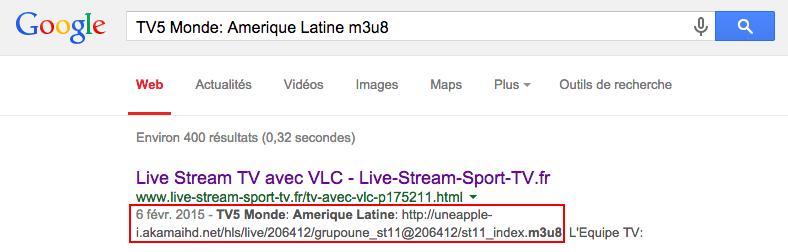Recherche de chaine / flux video m3u8 avec Google